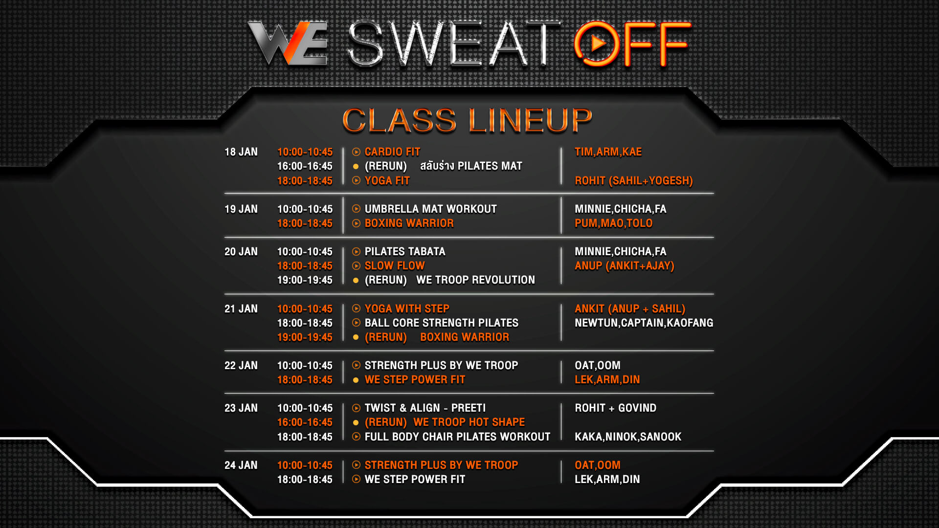 we sweat off Timetable
